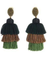 Oscar de la Renta | Grapefruit Long Silk Tiered Tassel Earrings | Lyst