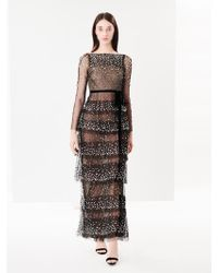 Oscar de la Renta - Embroidered Tiered Tulle Gown - Lyst