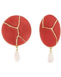 Oscar de la Renta Disk Drop Earrings - Red