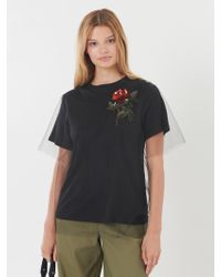 Oscar de la Renta - Embroidered Tulle-overlay T-shirt - Lyst