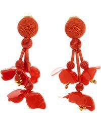 Oscar de la Renta - Carnelian Falling Flower Earrings - Lyst