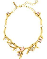 Oscar de la Renta - Vintage Rose Crystal Necklace - Lyst