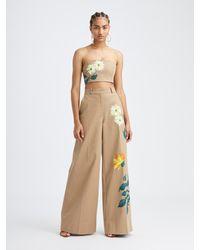 Oscar de la Renta Hand Painted Floral Pant - Multicolor