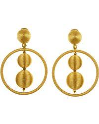 Oscar de la Renta - Navy Threaded Bead Hoop Earrings - Lyst