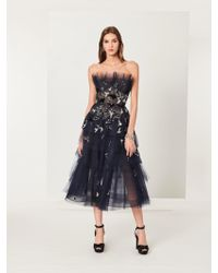 Oscar de la Renta - Seagull Embroidered Tiered Tulle Gown - Lyst