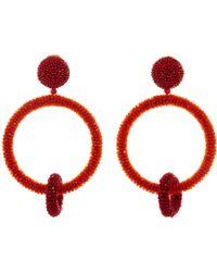 Oscar de la Renta - Hematite Beaded Ring Earrings - Lyst