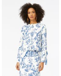 Oscar de la Renta - Floral Toile Textured Cotton Jacket - Lyst