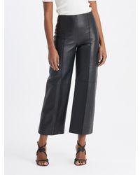 Oscar de la Renta Straight Leg Leather Pants - Black