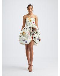 Oscar de la Renta Strapless Rosette Cocktail Dress - Multicolor