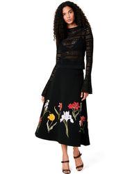 Oscar de la Renta - Flower Harvest Embroidered Bonded Stretch-crepe Skirt - Lyst