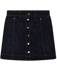 summum woman Mini Skirt Velvet Denim Midnight Blue