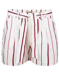 EsQualo Short Linen Stripe Print - Red