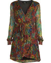 Alix The Label Ladies Woven Flower Lurex Short Dress Spicy Coral - Multicolour