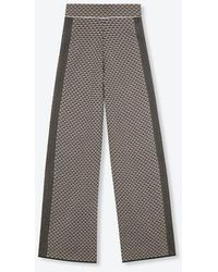 Alix The Label Ladies Knitted Wide Leg Jacquard Trousers Black - Grey