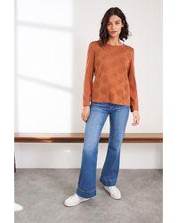White Stuff Crochet Trim Tee Mid Brown - Blue