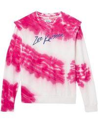 Zoe Karssen Rachel Padded Shoulder Tie Dye Sweat Pink Tie Dye