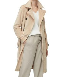 Marc O'polo Trench Coat In Corduroy Fabric Brown/sand - Natural