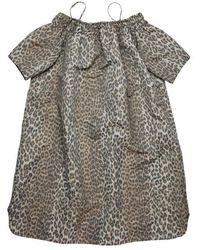 Zoe Karssen Olive Oversized Off-shoulder Leopard Dress Leopard - Grey