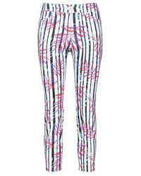 Gerry Weber 7/8-length Trousers With Mix Of Patterns, Best4me Beige / Wh - Blue