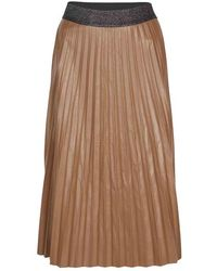 summum woman Plisse Skirt Fake Leather Chestnut - Brown