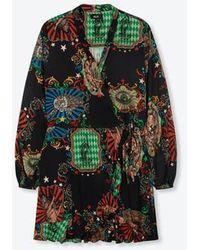 Alix The Label Ladies Woven Big Circus Short Wrap Dress Black