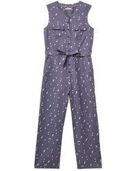 White Stuff Marti Linen Jumpsuit Muted Purple Print - Blue