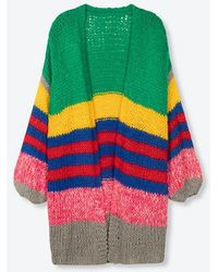 Alix The Label Ladies Knitted Oversized Striped Cardigan Multi Colour - Multicolour