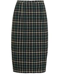 summum woman Skirt Pencil Sparkle Plaid Deep Green