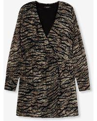 Alix The Label Ladies Woven Animal Chiffon Dress Animal - Black