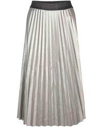 summum woman Plisse Skirt Fake Leather Silver - Multicolour