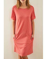 Lanius Kleid Mit Spitze Coral - Multicolor