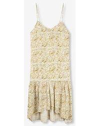Alix The Label Ladies Woven Mini Zebra Slip Dress Off White - Multicolour