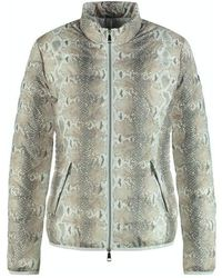 Taifun Quilted Jacket With A Snakeskin Print White - Multicolour