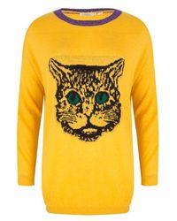 EsQualo Jumper Intarsia Cat Oker - Yellow