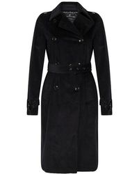 Marc O'polo Trench Coat In Corduroy Fabric Blue - Black