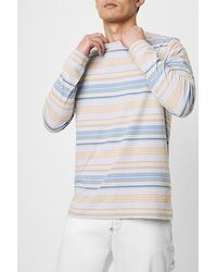 French Connection Yura Stripe Long Sleeve T-shirt Cerulean Multi - Blue
