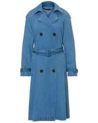 Marc O'polo Trench Coat In Denim Look Light Outdoor Wash - Blue