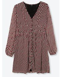 Alix The Label Ladies Woven Graphic Star Chiffon Dress Warm Red