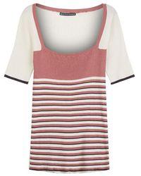 ALEXACHUNG Stripe Square Neck Rib Top Pink / Black / White