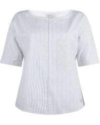 Sandwich Blouse Woven Short Sleeves Pure White