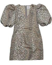 Zoe Karssen Robyn Puff Sleeve Leopard Mini Dress Leopard - Grey