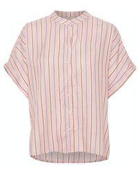 Soaked In Luxury Sllelu Helia Shirt Ss Bridal Rose Stripe - Pink