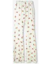 Alix The Label Ladies Woven Raspberry Lace Flared Trousers Off White