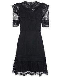 Whistles Mariah Lace Ruffle Dress Black