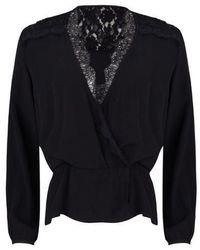 EsQualo Blouse Lace Wrap Over Black