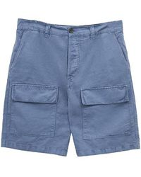 French Connection Garment Dyed Cotton Linen Shorts Trooper Blue