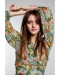 Alix The Label Ladies Woven Botanical Wrap Top Faded Army - Multicolour