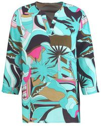 Gerry Weber Patterned Linen Tunic Multi-colored - Blue