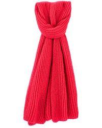 IKKS Red Fluffy Wool Scarf Lipstick