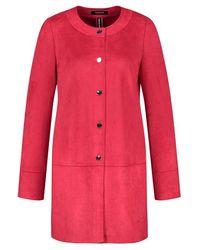 Taifun Faux Suede Long Jacket Red